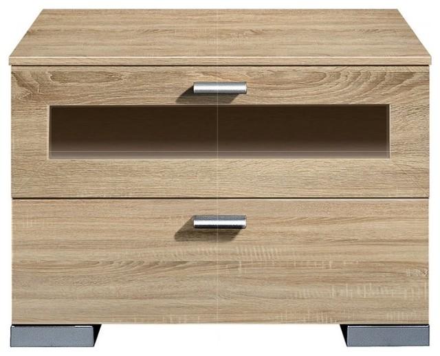 Chevet design gallery 2 tiroirs en chene clair et verre - Table de nuit en verre ...