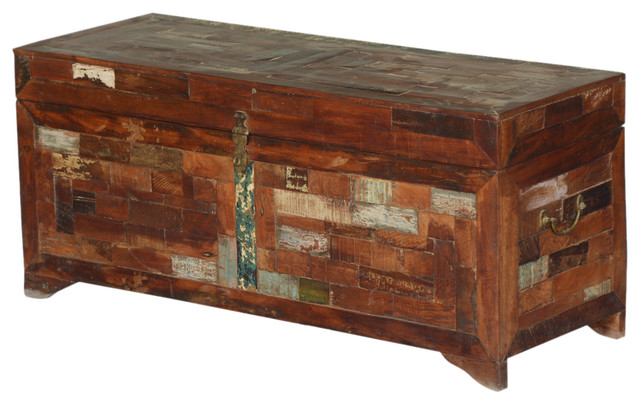 Rustic brick reclaimed wood standing coffee table chest - Baules decorativos ...