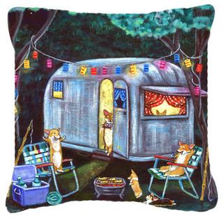 Corgi glamping fish tales trailer fabric decorative pillow for Tap tap fish corgi
