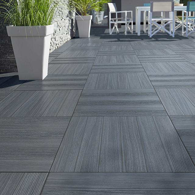 carrelage terrasse gris anthracite 50 x 50 cm caillebotis contemporain carrelage sol et mur. Black Bedroom Furniture Sets. Home Design Ideas