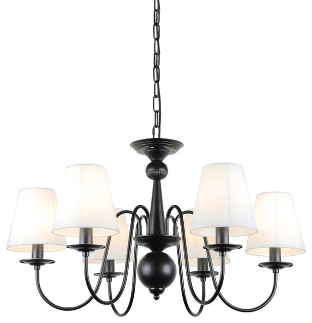 6 Lights Modern Black Iron Chandelier With Fabric Shades