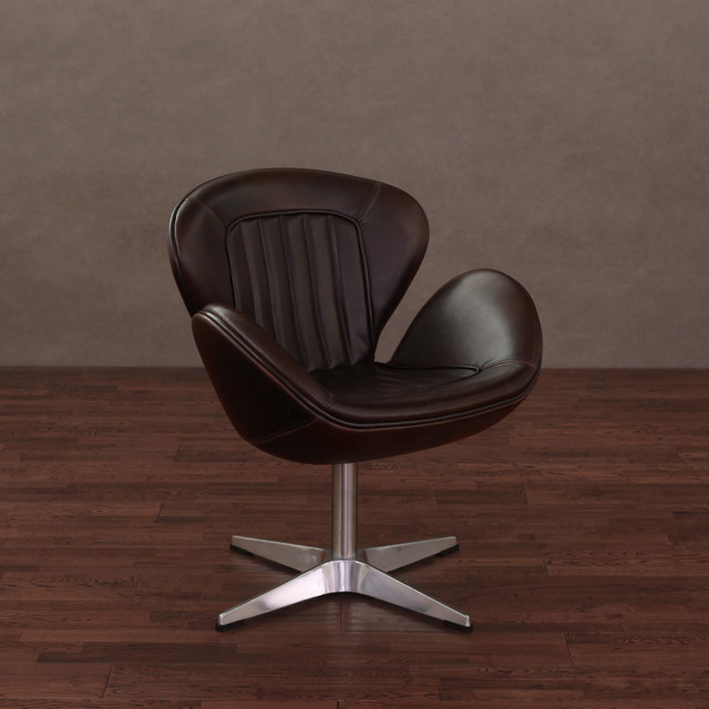Amelia Vintage Tobacco Leather Swivel Chair Contemporary