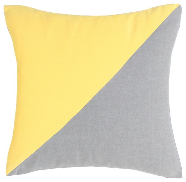 Duo Yellow & Grey Throw Pillow - Modern - Decorative Pillows