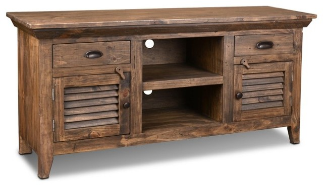 Crafters And Weavers Distressed Rustic Style 60 Inch Tv Stand Made Of Solid Wood Rustic