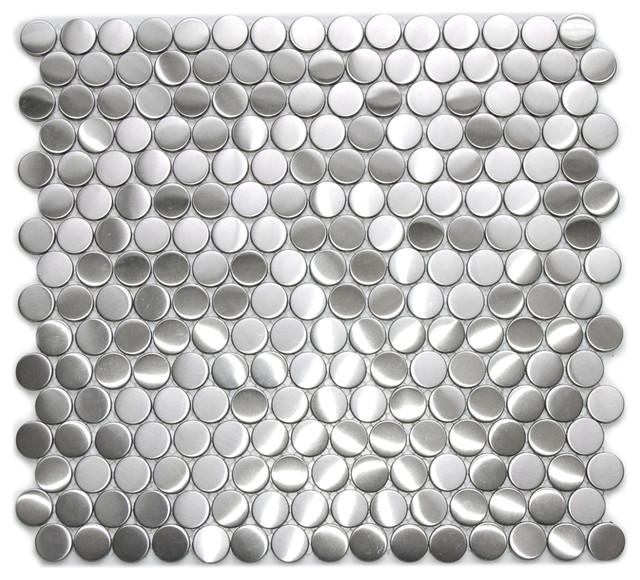 Sample Black Gray Pattern Aluminum Stainless Mosaic Tile: Penny Round Pattern Mosaic Stainless Steel Tile, Sheet