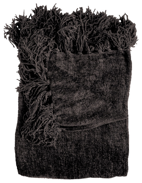 Susan Chenille Throw, Black - Contemporary - Throws - by Michael Anthony Furniture