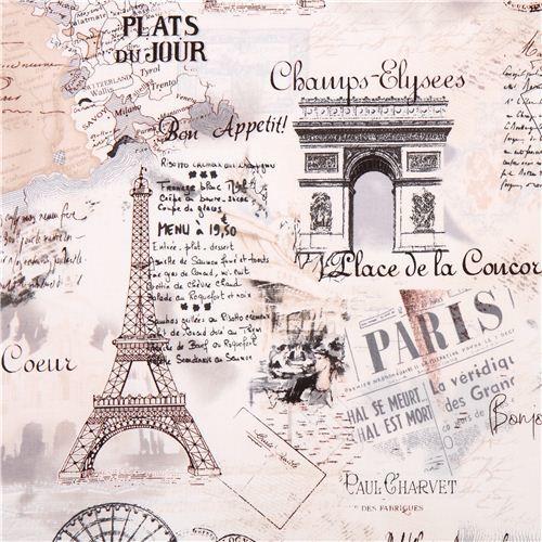 Cream retro paris eiffel tower fabric by timeless treasures fabric - Marche de tissu a paris ...