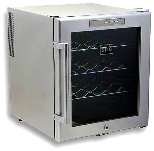 Sno 16 bottles wine cooler w lock in platinum finish for Beer and wine cooler table