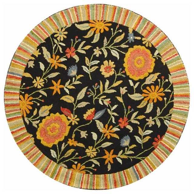 Round rug in black 5 ft 9 in contemporary area for Area rugs round contemporary