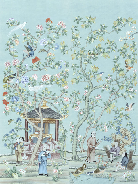 Chinoiserie wall mural tea garden diptych asian for Asian mural wallpaper
