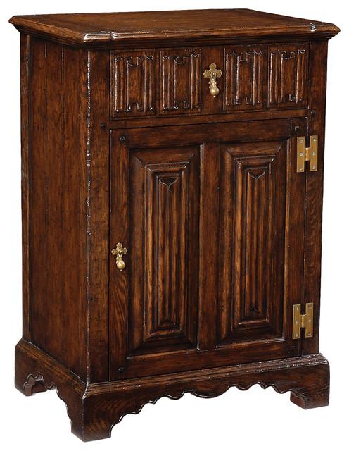 Jonathan Charles Linenfold Dark Oak Beside Cabinet 493207