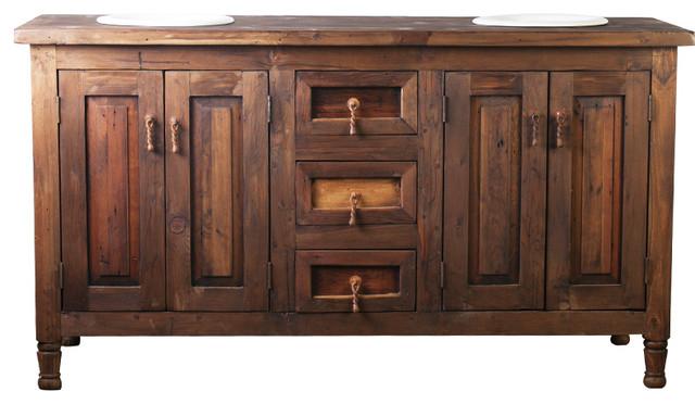 Double Sink Rustic Barnwood Vanity 92829 Rustic Bathroom Vanities And Sink Consoles By