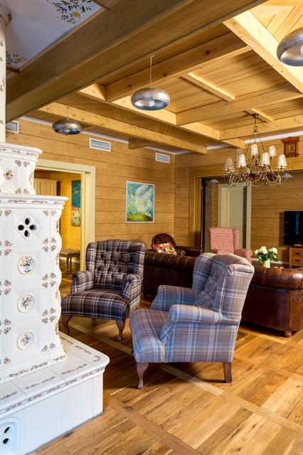 Гостиные в деревянных домах фото