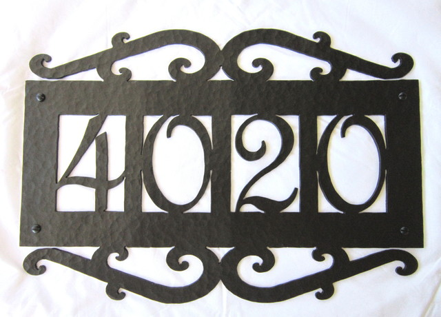 Aph14 spanish style wrought iron address plaques for Mediterranean house numbers
