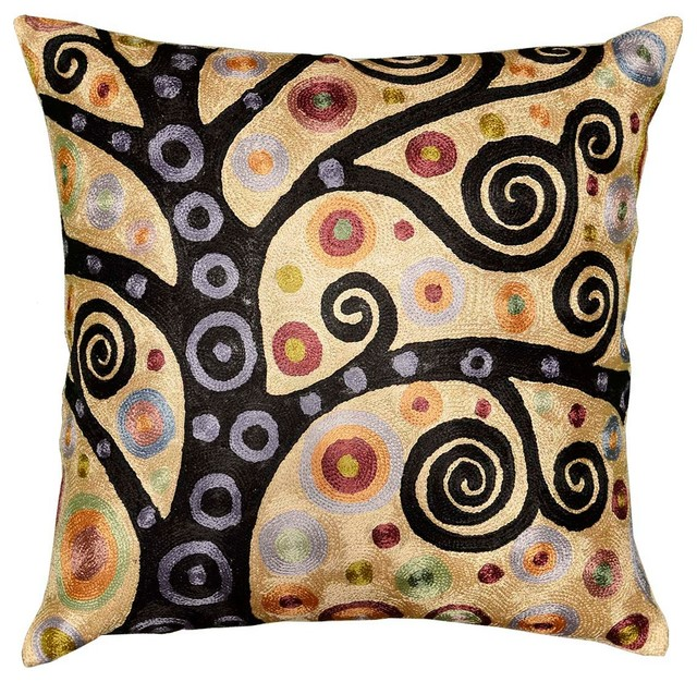 Modern Embroidered Throw Pillow : Klimt Gold Throw Pillow Soulful Tree Of Life Silk Hand Embroidered 18? X 18? - Modern ...