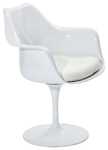 MODERN WHITE PLASTIC LOUNGE CHAIR WITH WHITE CUSHION LEBUS
