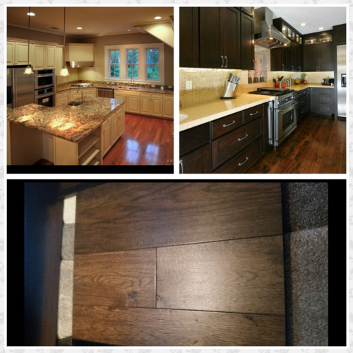 Medium Wood Kitchens: Off White Or Dark Kitchen Cabinets? Hardwood Floor Is A