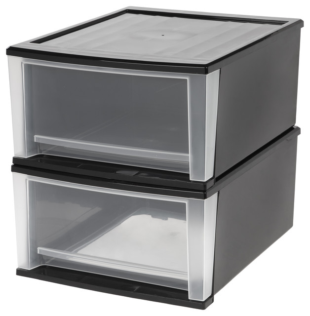 32 Quart Stacking Drawer, 2-Pack, Black - Closet ...
