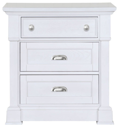 Boathouse casual white wood nightstand tropical for White wood nightstand