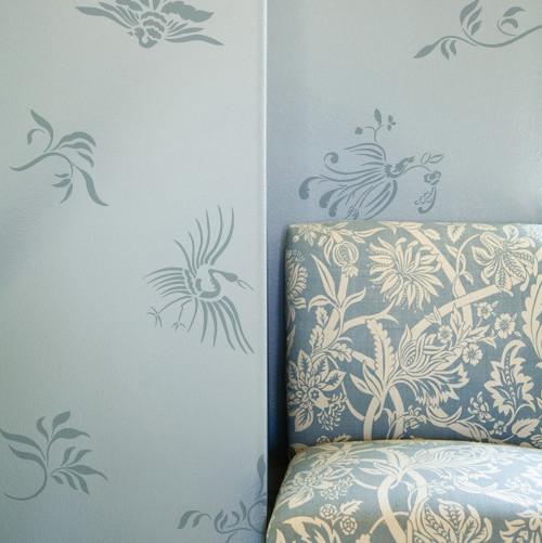 Oriental brushstroke wall stencil asian wall stencils san diego by royal design studio - Oriental stencils for walls ...
