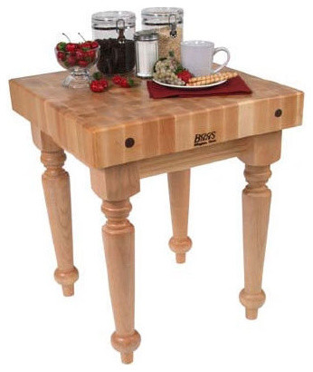 Butcher Block Kitchen Table With Storage : BoosBlock Saratoga Butcher Block Table - Traditional - Kitchen Islands And Kitchen Carts - by ...