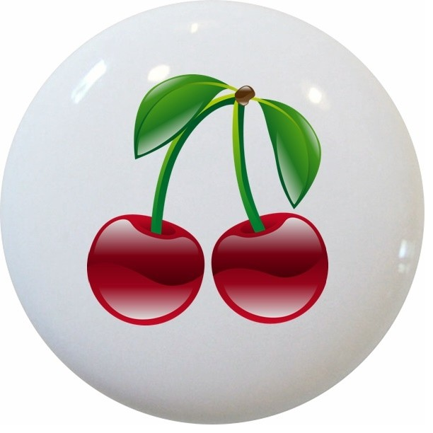 Shiny Cherries Fruit Ceramic Kitchen Knob - Contemporary - Cabinet And Drawer Knobs - by ...