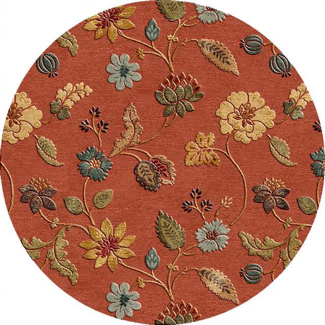 Hand Tufted Transitional Floral Pattern Red Orange Area