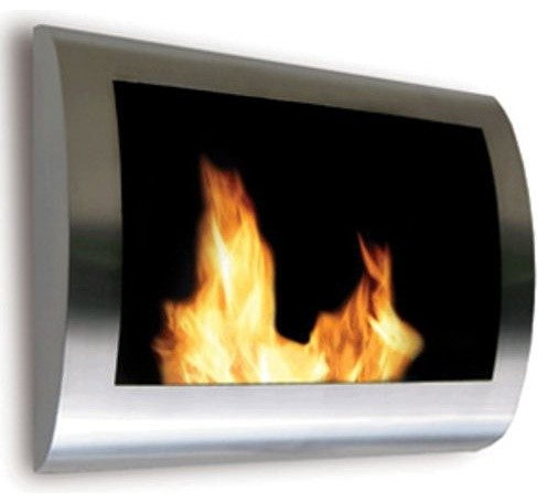 Chelsea Wall Mount Fireplace Stainless Steel Contemporary Indoor Fireplaces By