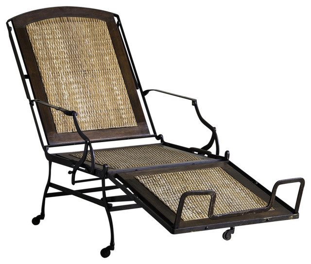 Iron frame chaise longue woven cane seat back original for Cane chaise longue