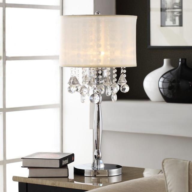 Tribecca Home Silver Mist 3 Light Crystal Chrome Table