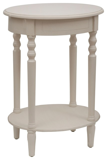 Simplify Antique White Oval Accent Table Farmhouse Dining Tables