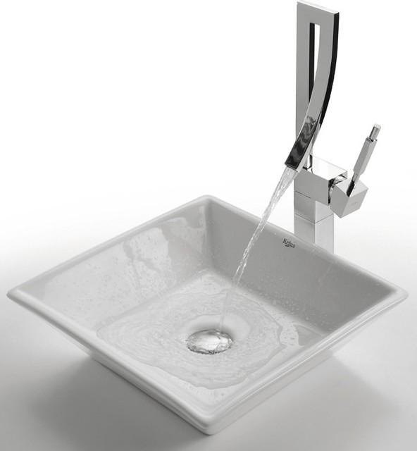 Kraus C Kcv 125 1200 White Square Ceramic Sink And Millennium Faucet Modern Bathroom Sinks