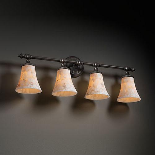 Houzz Bathroom Lighting Fixtures: Alabaster Rocks! Tradition Four-Light Matte Black Bath