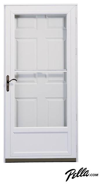 Pella midview self storing storm door in white for Front door and storm door