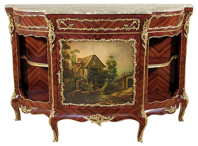Mahogany marble top french neoclassical sideboard commode victorian buffe - Commode buffet design ...