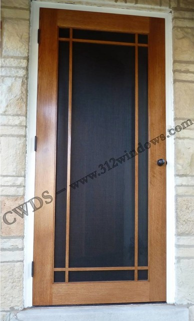 Custom Wood Storm Door Prairie Grille Craftsman
