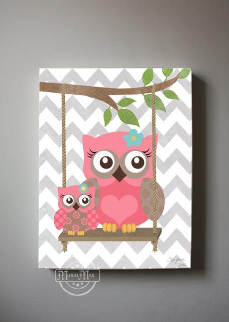 Owl Decor Girls Wall Art Owl Canvas Art Baby Nursery