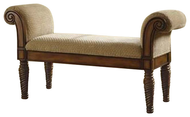 Coaster Upholstered Bench With Rolled Arms Transitional Upholstered Benches