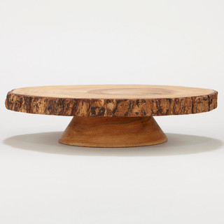 Wood Bark Pedestal Stand Rustic Coffee Tables By Cost Plus World Market