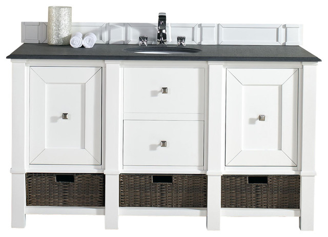 Madison 60 Cottage White Single Vanity Beach Style Bathroom Vanities And Sink Consoles By