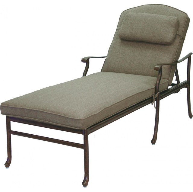 Darlee sedona cast aluminum patio chaise lounge antique for Cast aluminum chaise lounge