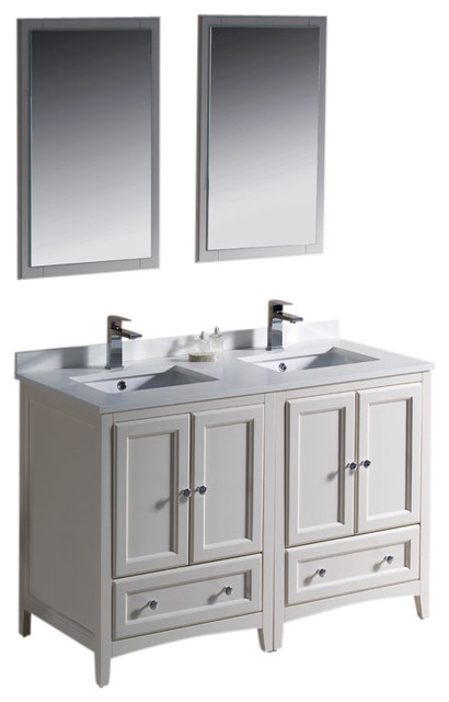 Oxford 48 White Traditional Double Sink Vanity Isarus Chrome Faucet Con