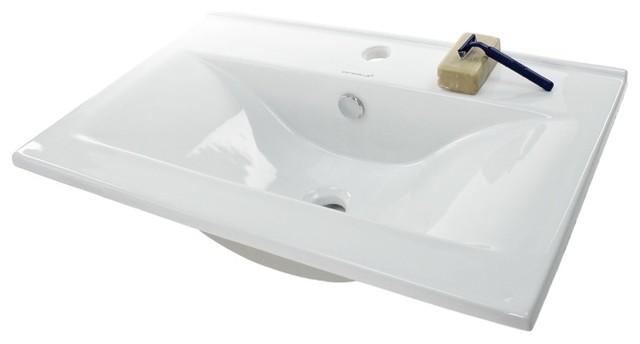 Ultra Modern Rectangular Self Rimming Ceramic Sink