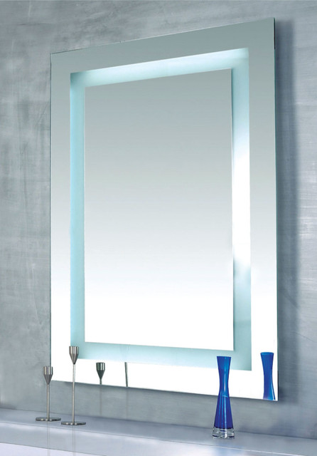 Plaza Dimmable Lighted Mirror By Edge Lighting Contemporary Bathroom Mirrors Other Metro
