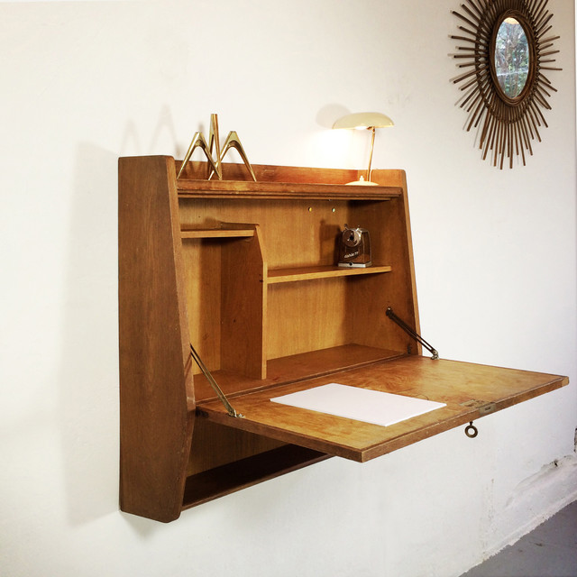 Wall mounted writing desk secretaire from the 1960 s moderne meuble bu - Bureau secretaire moderne ...