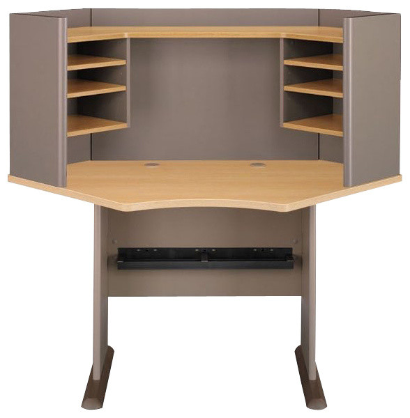 "Bush Series A 42"" Wood Corner Computer Desk with Hutch in Light Oak - Transitional - Desks And ..."