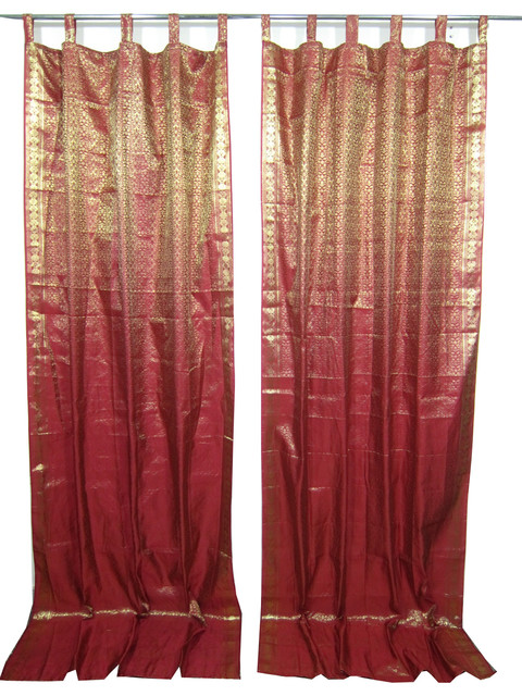 Indie Style Decor 2 Red Maroon Gold Brocade Indian Sari Curtains Drapes Panels Asian