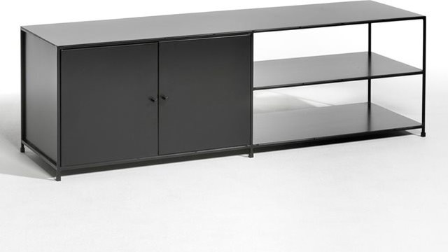 meuble tv m tal romy 2 portes contemporain solution m dia et meuble tv par am pm. Black Bedroom Furniture Sets. Home Design Ideas