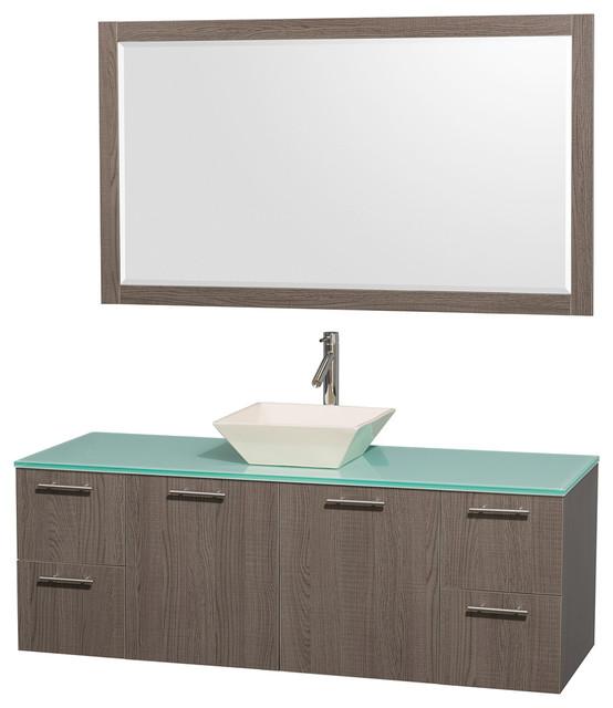 Shop Houzz Wyndham Collection Amare  Bathroom Vanity Gray Oak Bathroom Vanities And Sink