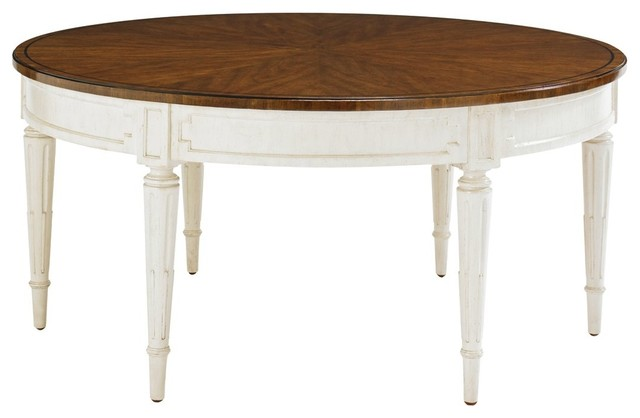Stanley Fairfax Round Cocktail Table In Potomac Cherry Cotton Traditional Coffee Tables By